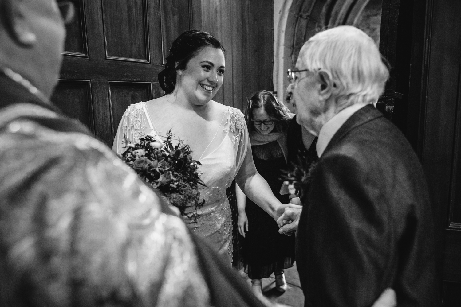 bride seeing grandad by Emma and Rich