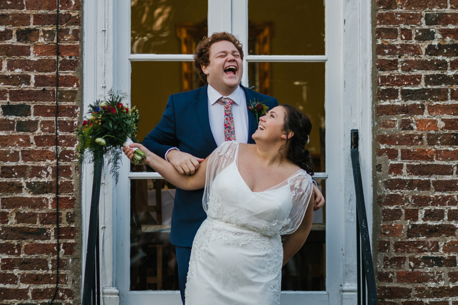 bride and groom at wrangham house by Emma and Rich