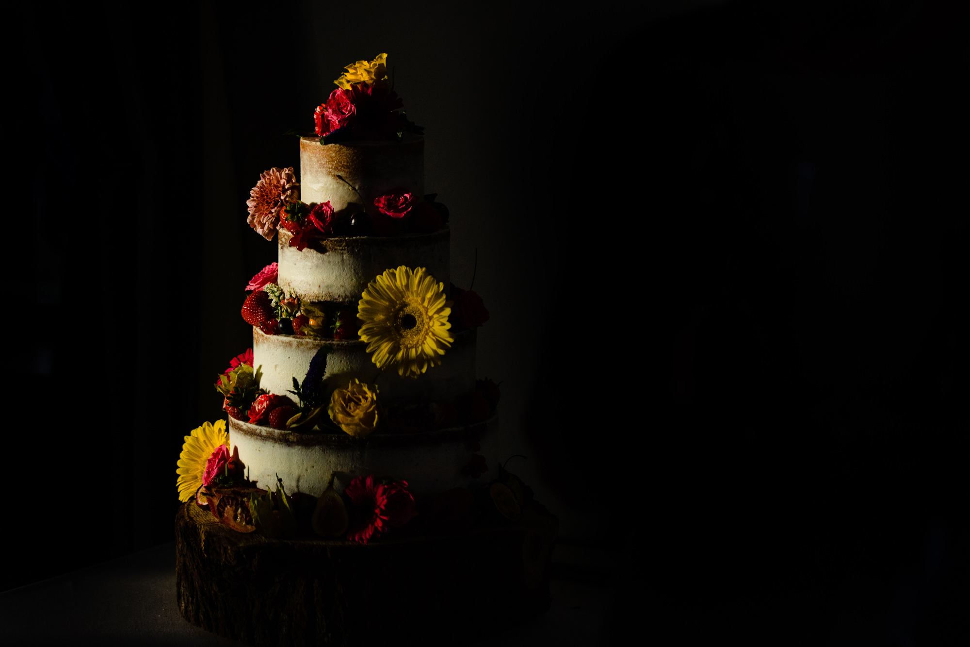 wedding cake lit by the setting sun.