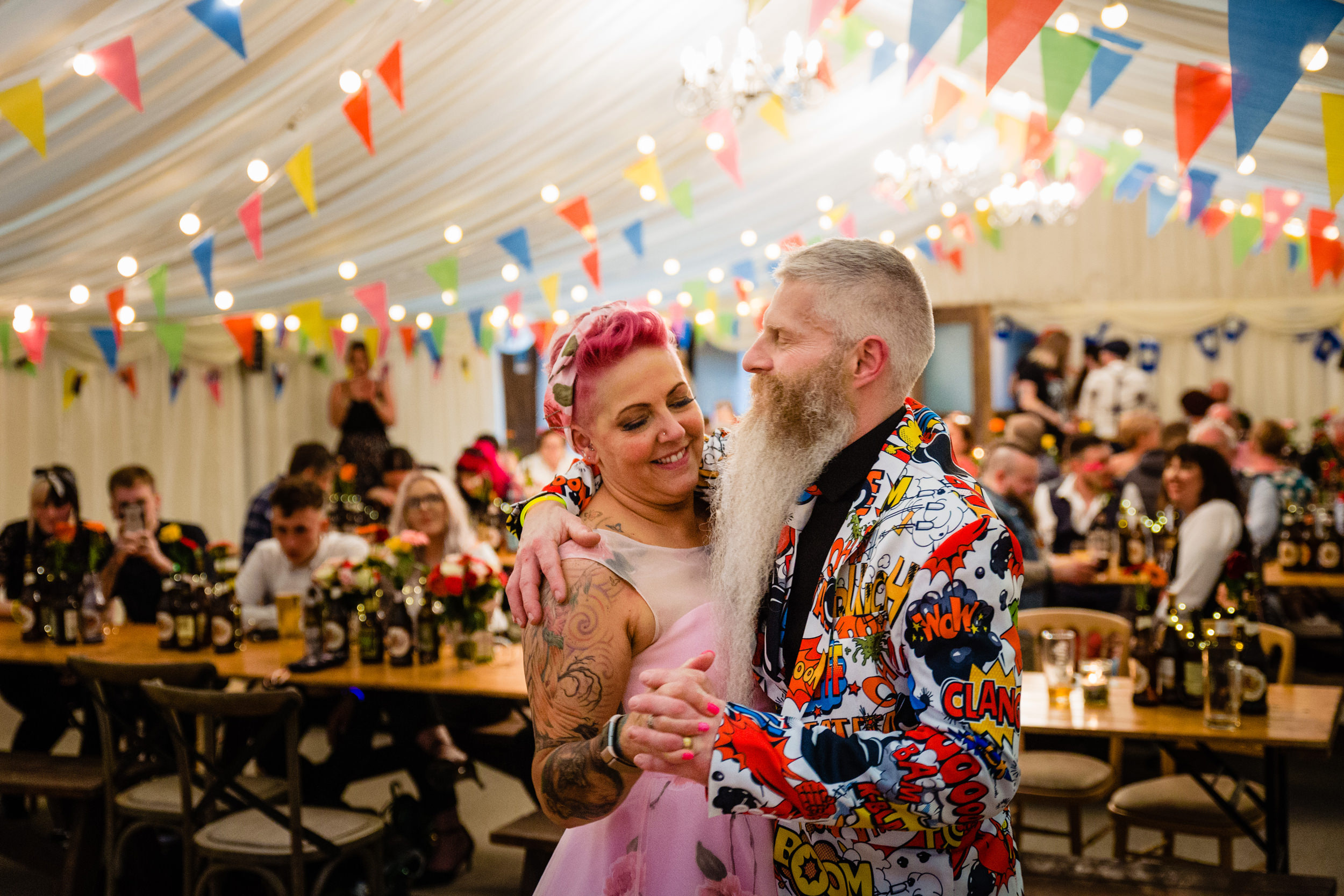 bride and grooms first dance. wold top brewery wedding photography by emma and rich.