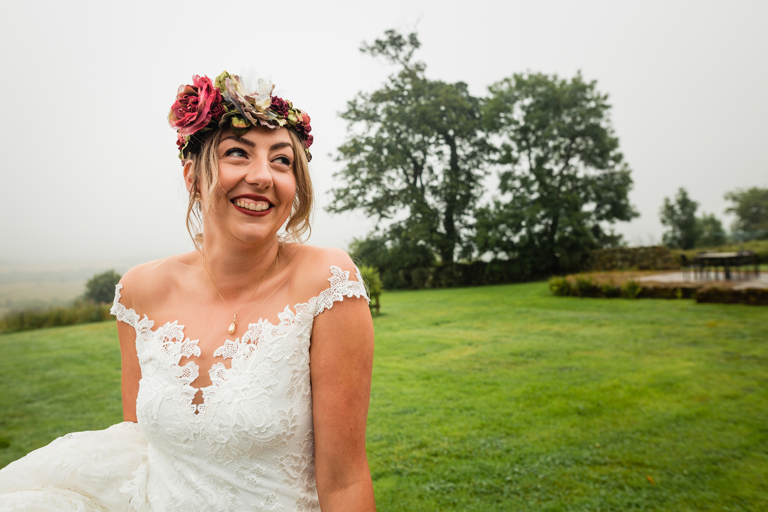 smiling bride. esk valley wedding photography by emma and rich.