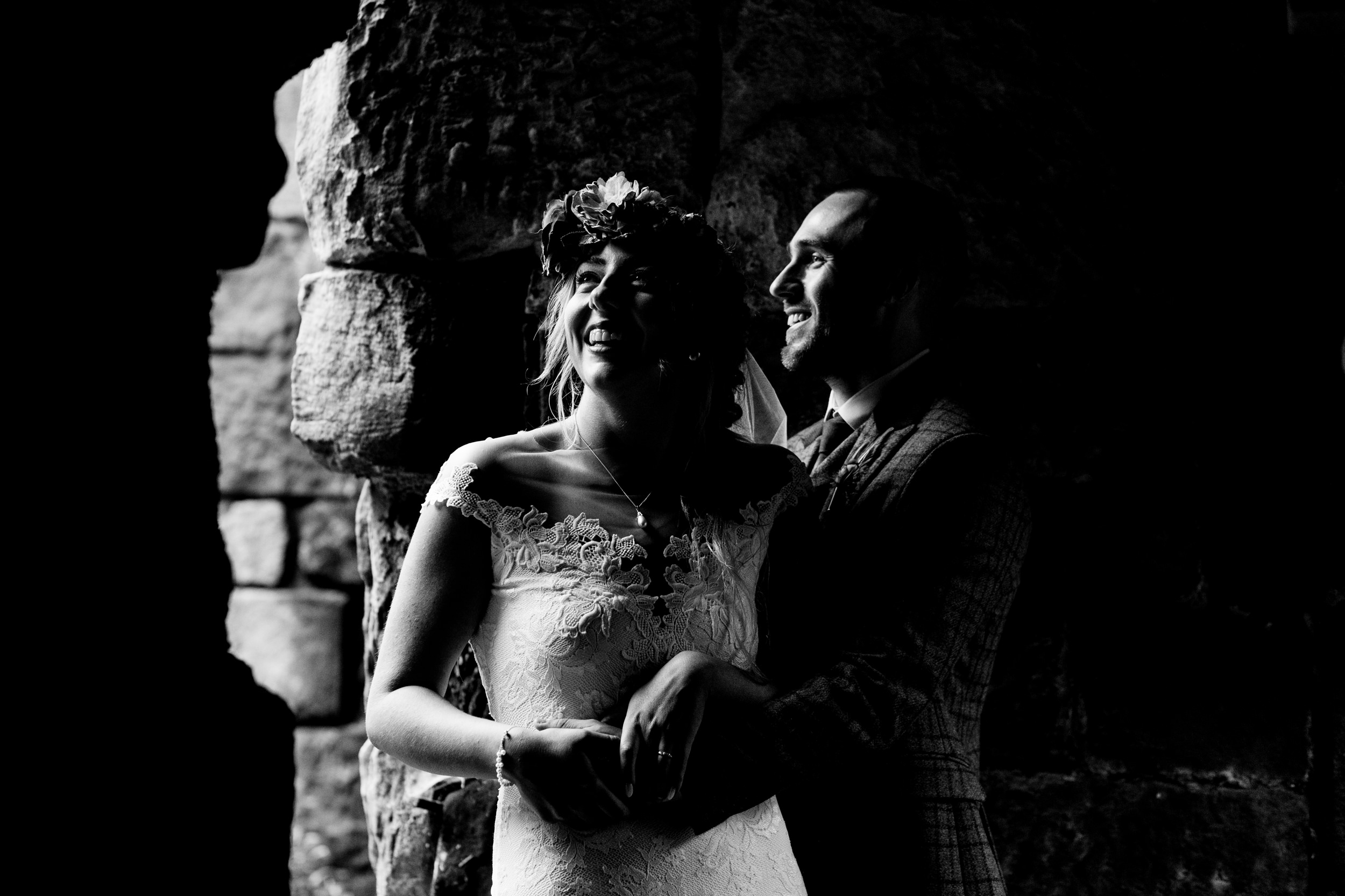 black and white portrait. esk valley wedding photography by emma and rich.