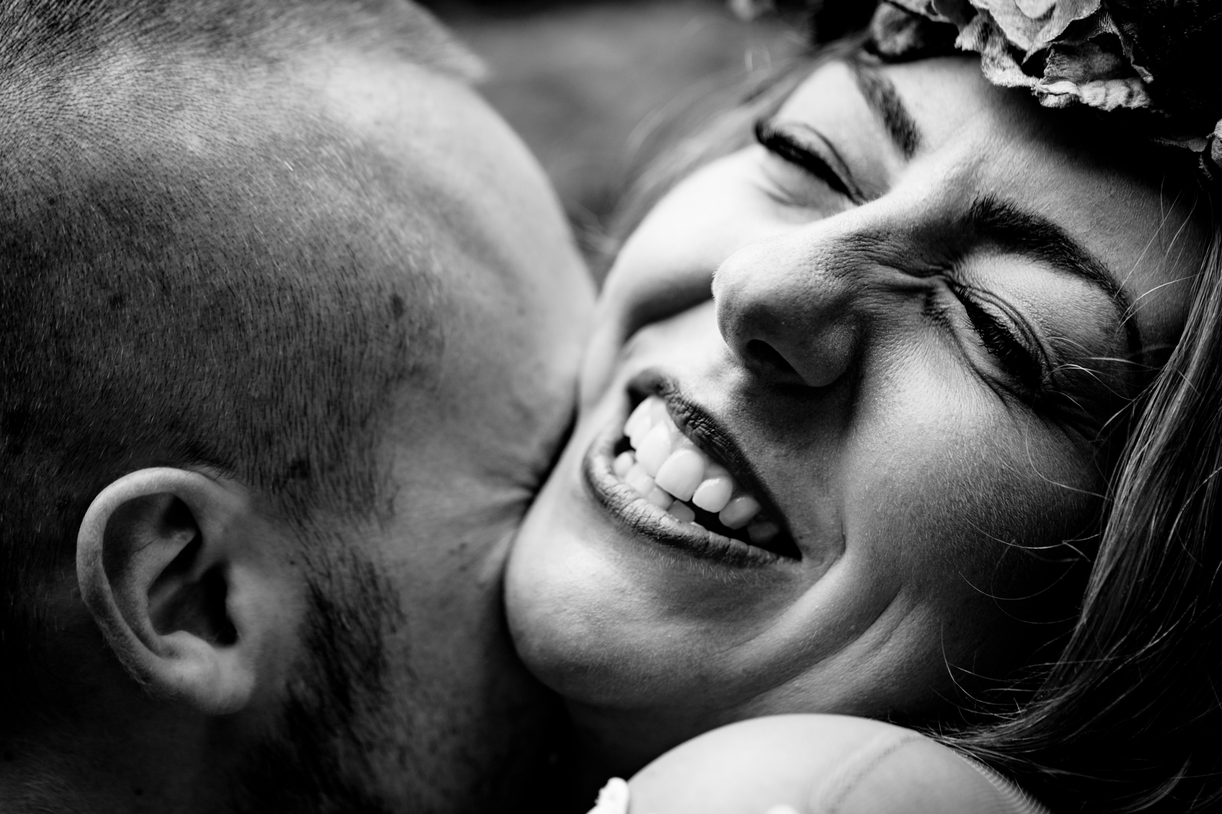 bride laughing. esk valley wedding photography by emma and rich.