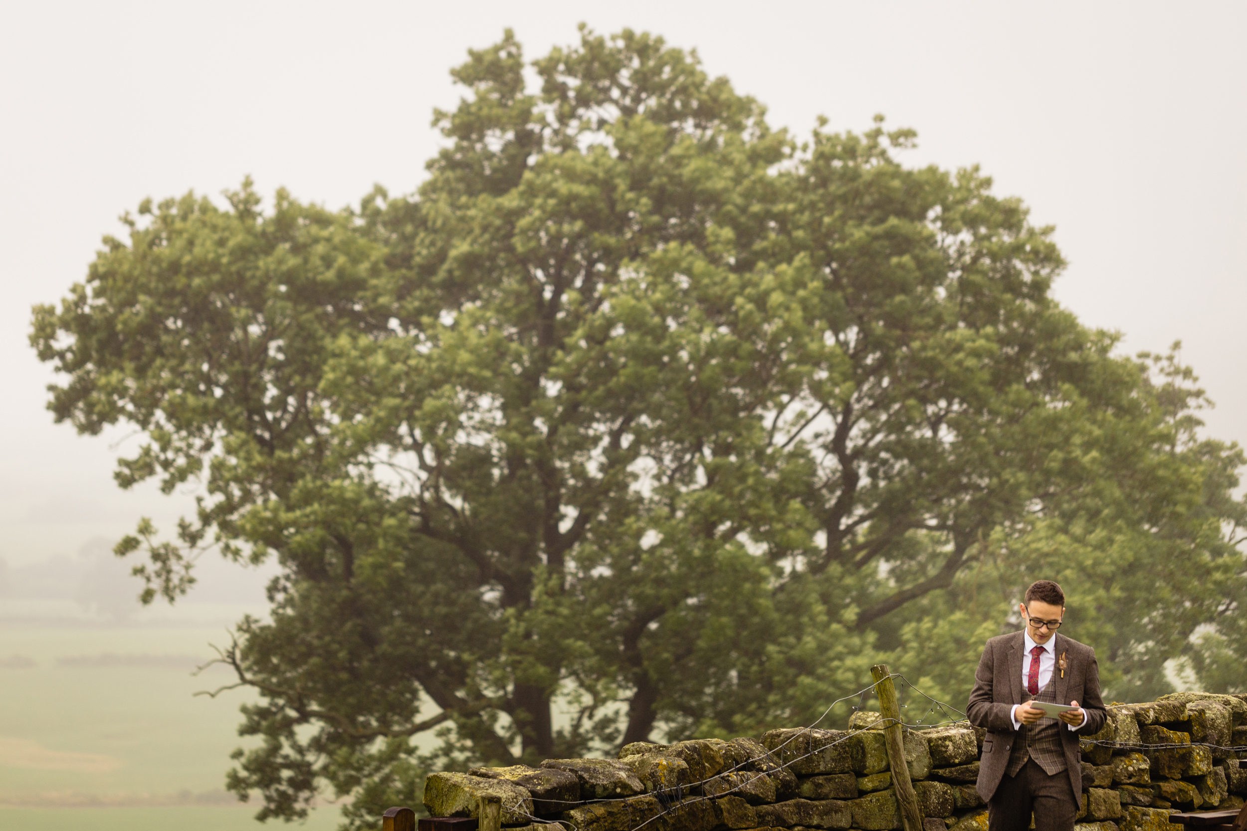 best man practicing his speech. esk valley wedding photography by emma and rich.