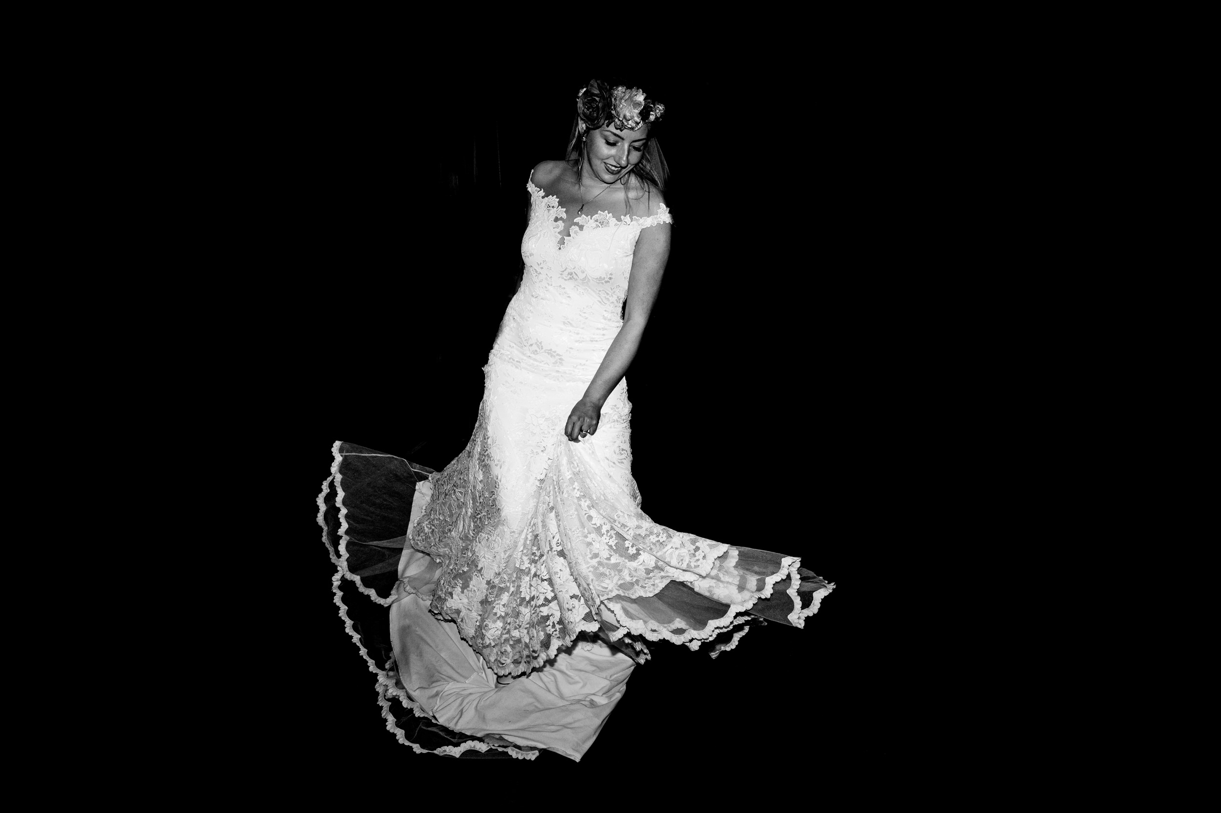 bride on dance floor. esk valley wedding photography by emma and rich.