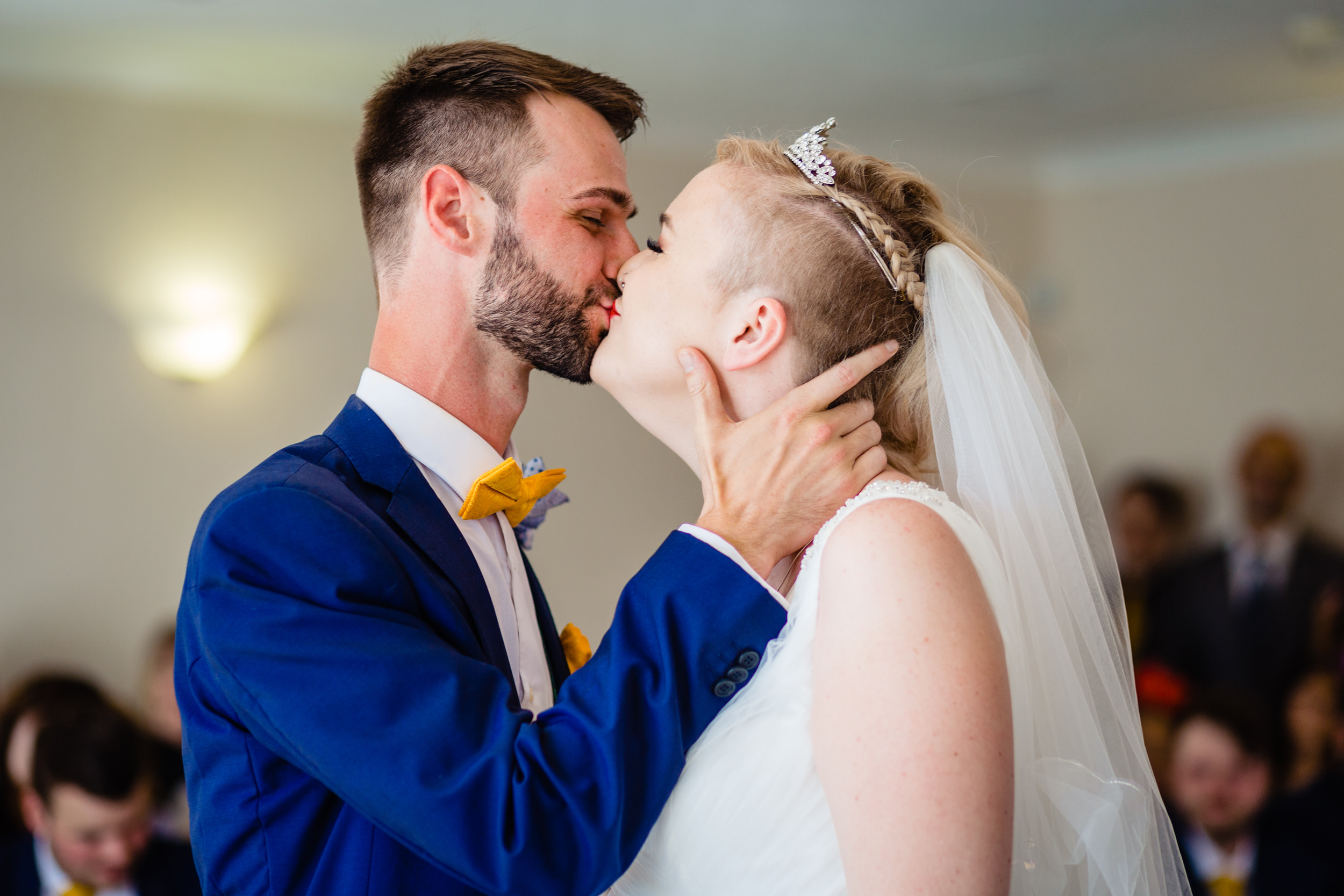 first kiss. grand hotel scarborough wedding photography by emma and rich.