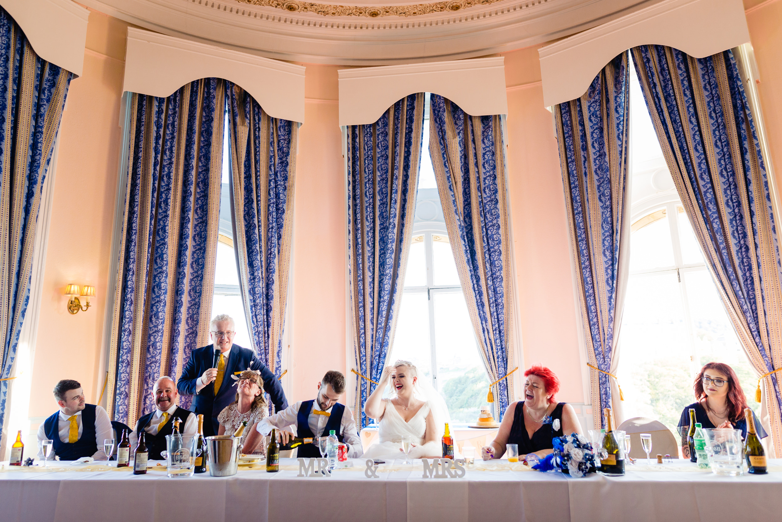 top table during speeches. grand hotel scarborough wedding photography by emma and rich.
