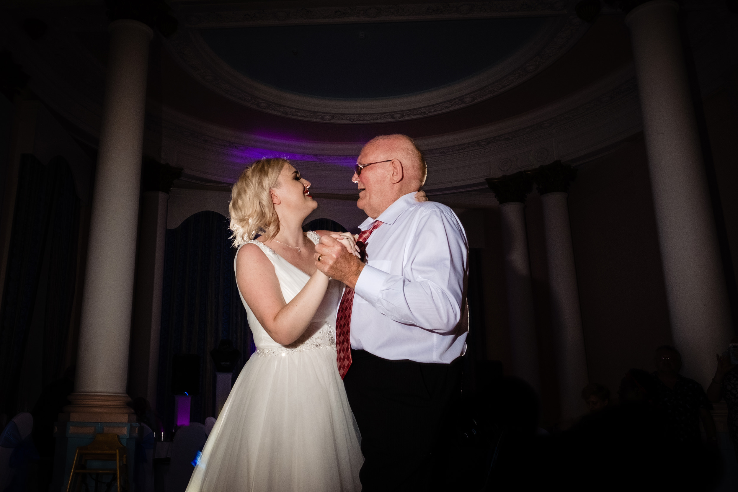 bride dancing with grandad. grand hotel scarborough wedding photography by emma and rich.