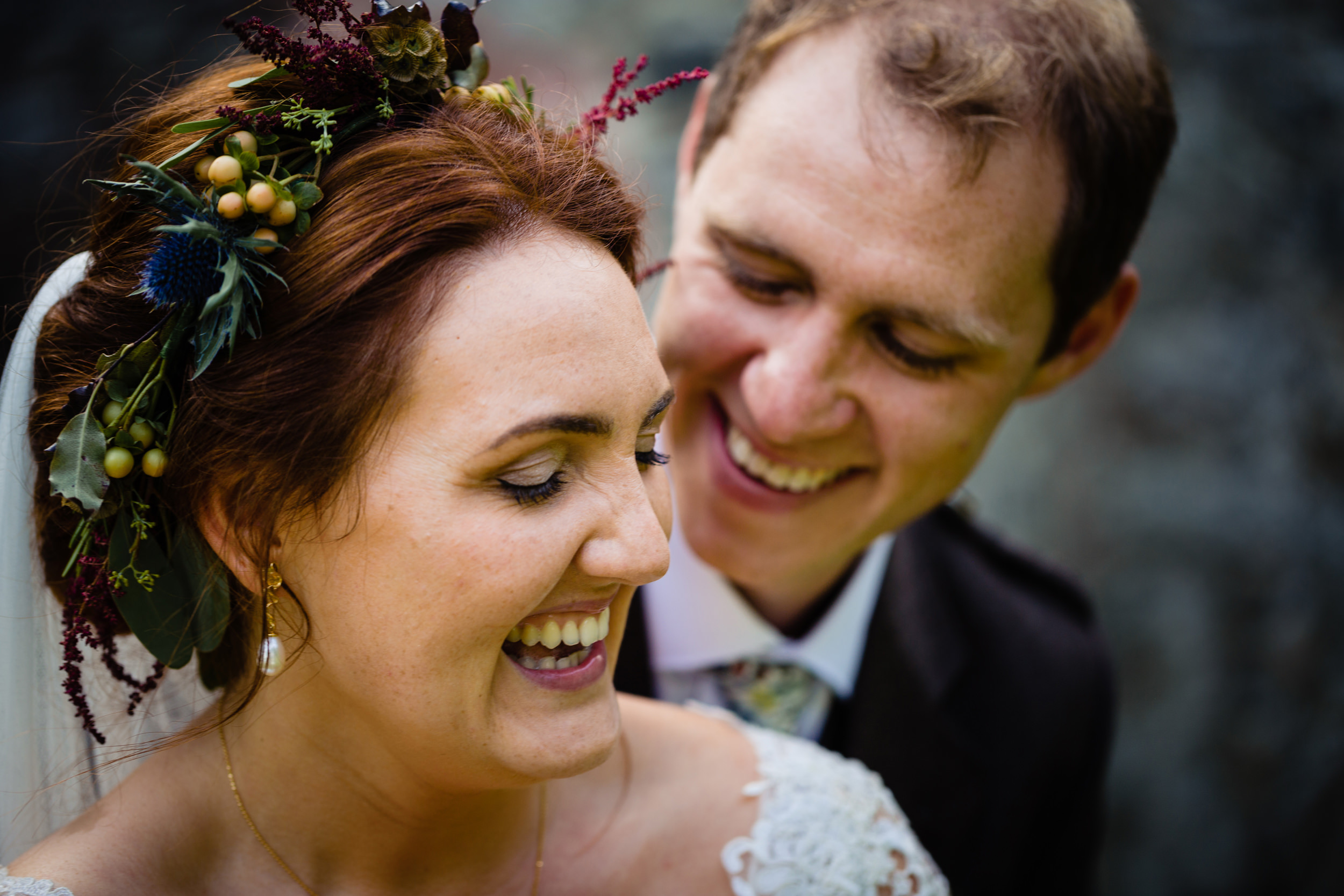 bride and groom laughing. scotland wedding photography by emma and rich.