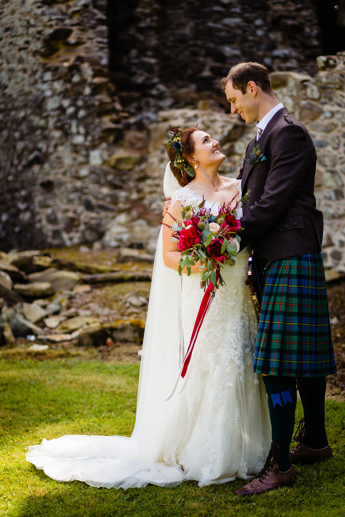 bride and groom portrait. scotland wedding photography by emma and rich.