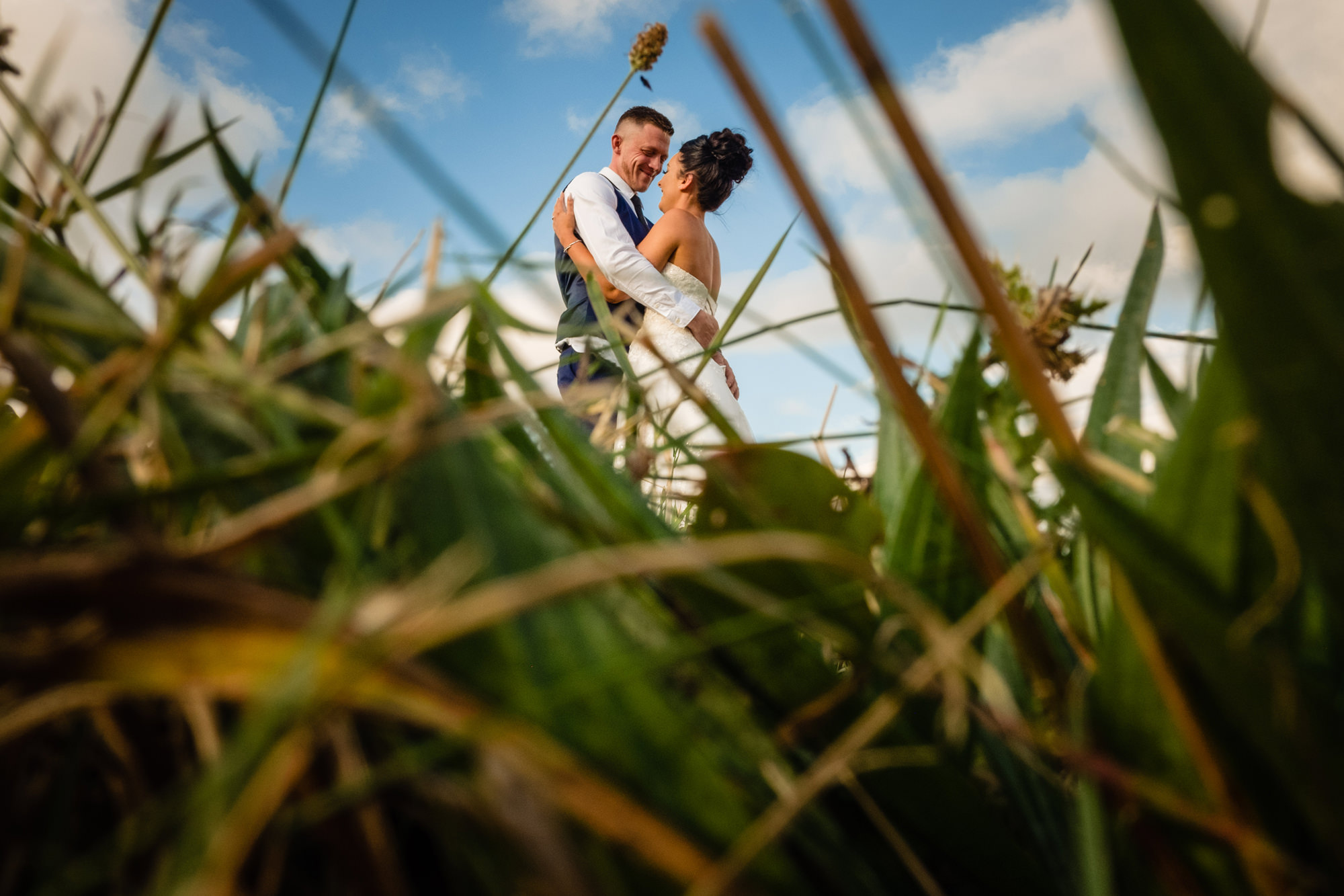 a newly married couple hugging. shot through long grass. huntsman inn wedding photography by emma and rich.