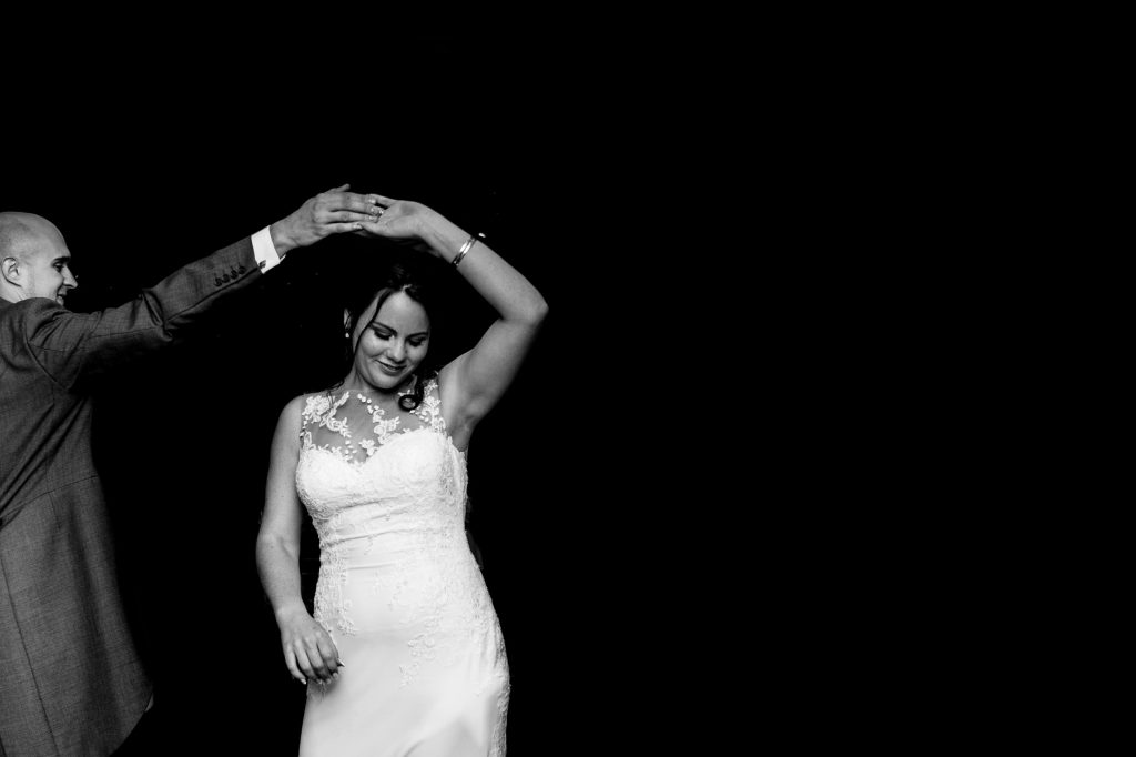 bride and groom doing their first dance at the coniston hotel - by fun wedding photographers emma + rich