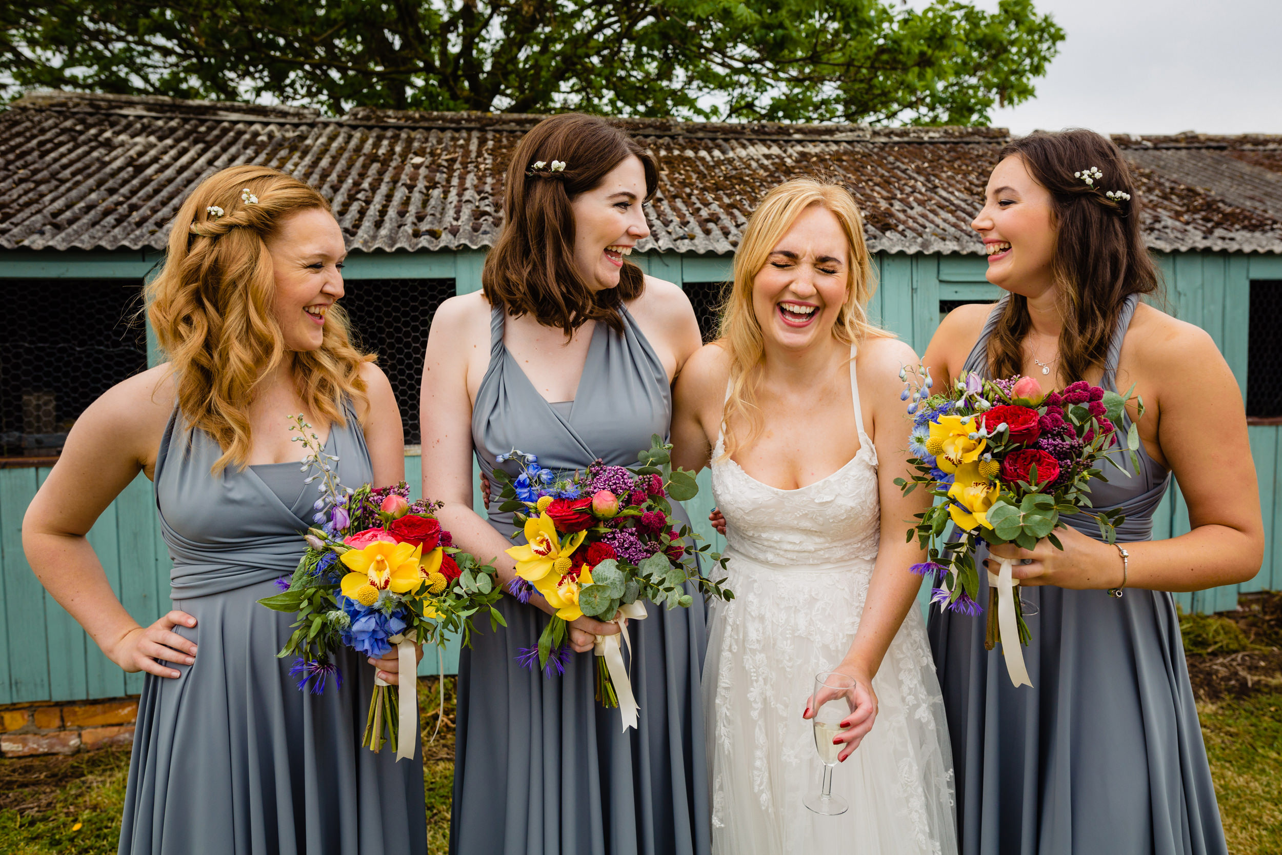 bride and bridesmaids. wildwood and eden wedding photography by emma and rich.