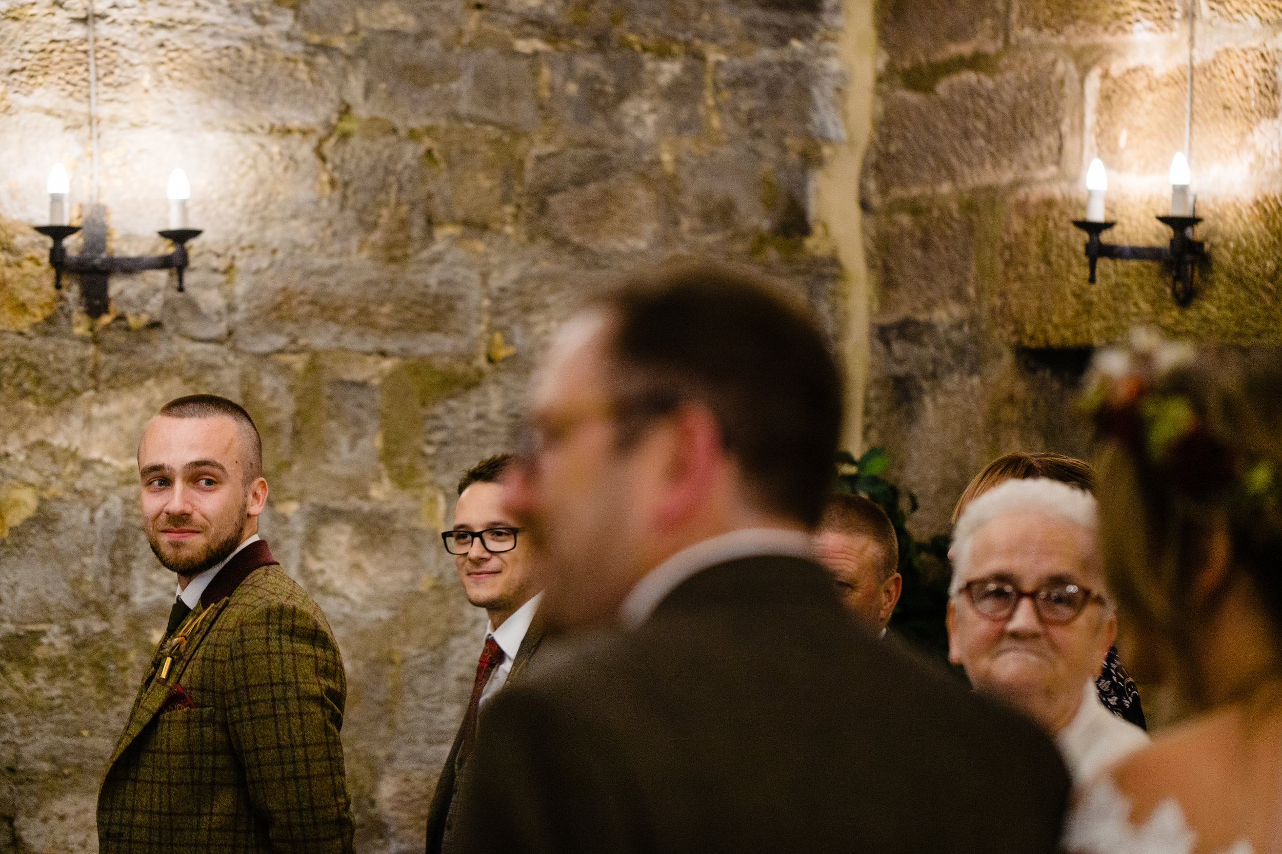 groom sees bride walk down aisle. esk valley wedding photography by emma and rich.