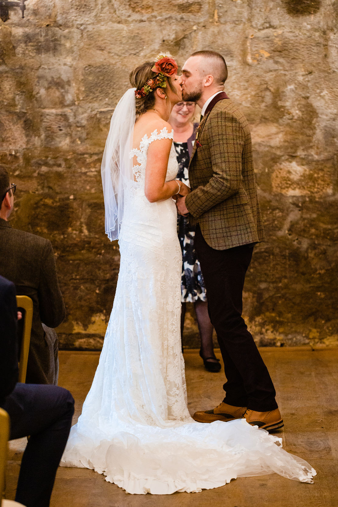 first kiss. esk valley wedding photography by emma and rich.