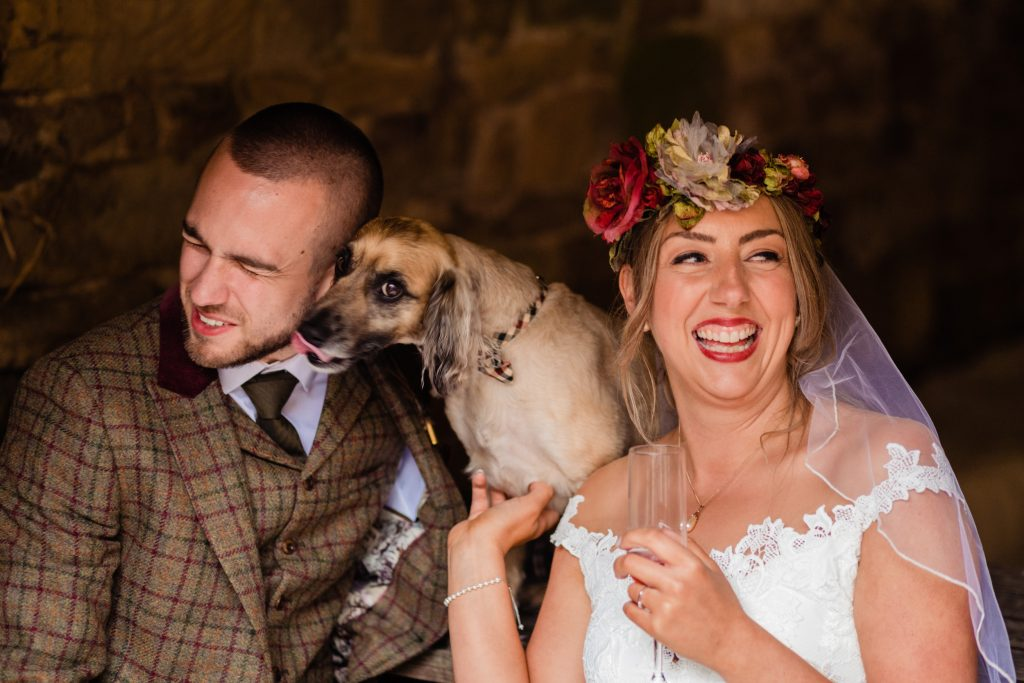 bride and groom with their dog licking the grooms face. esk valley wedding photography by emma and rich
