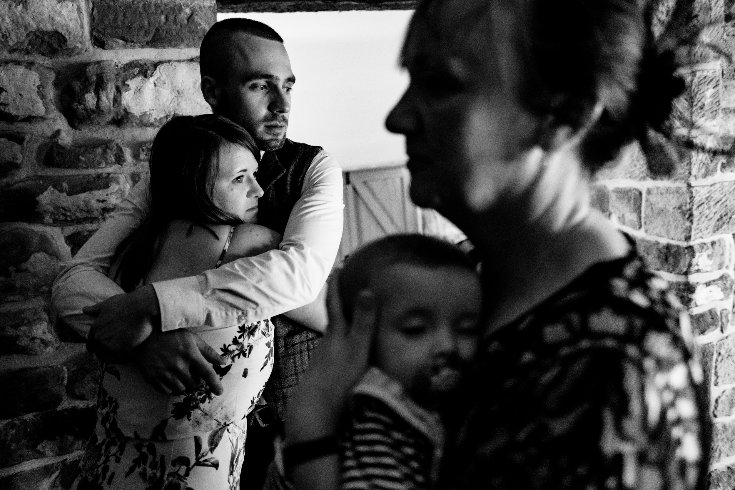 family hugs. esk valley wedding photography by emma and rich.