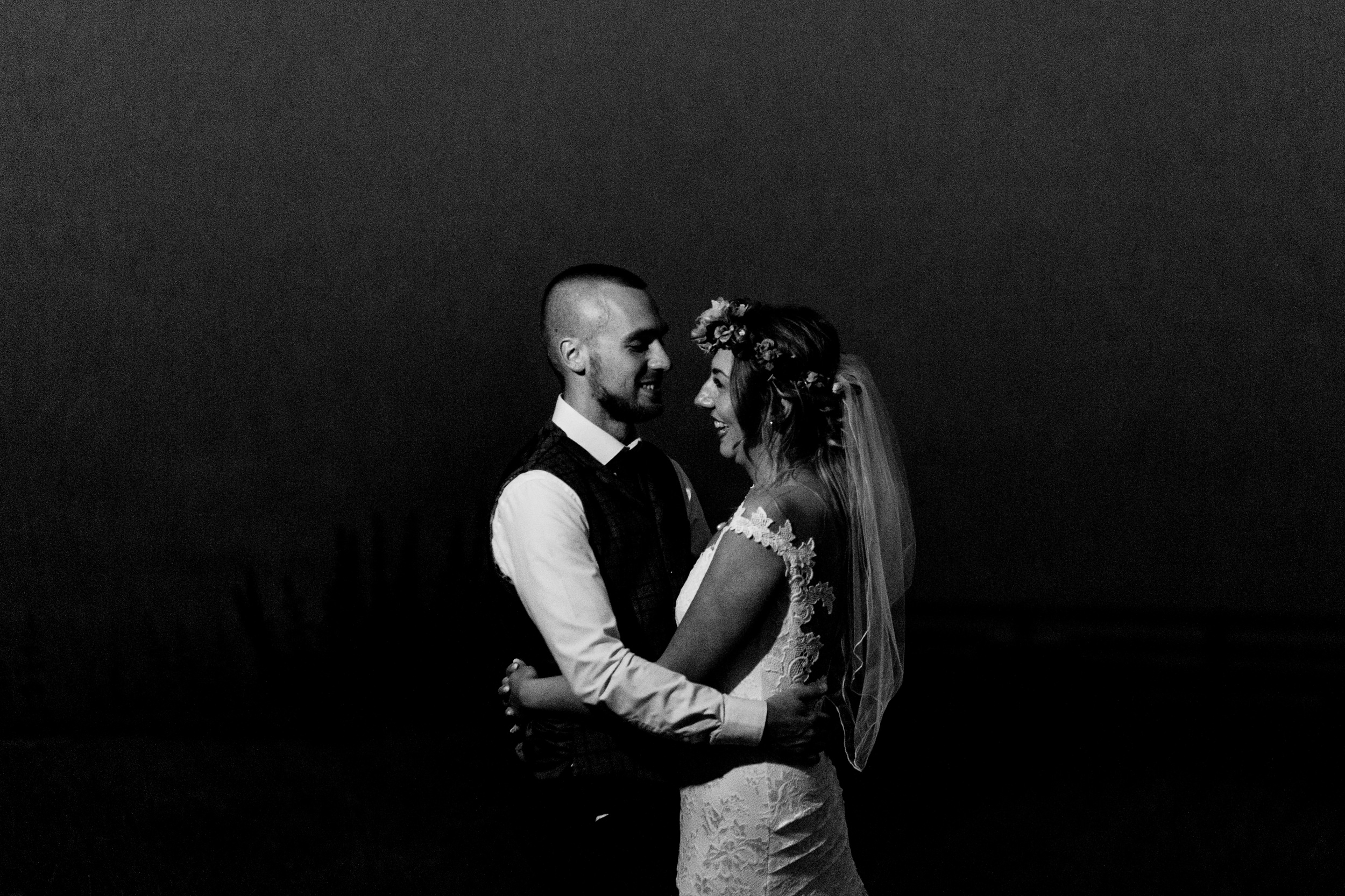 wedding portrait in misty darkness. esk valley wedding photography by emma and rich.