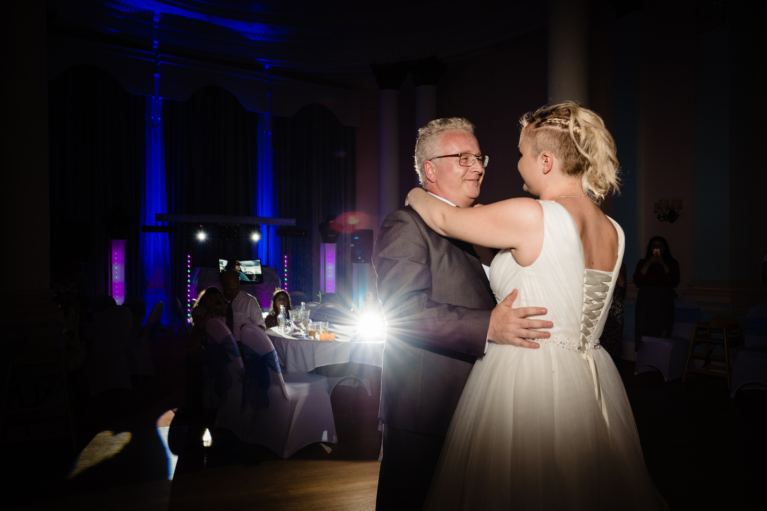 bride dancing with dad. grand hotel scarborough wedding photography by emma and rich.