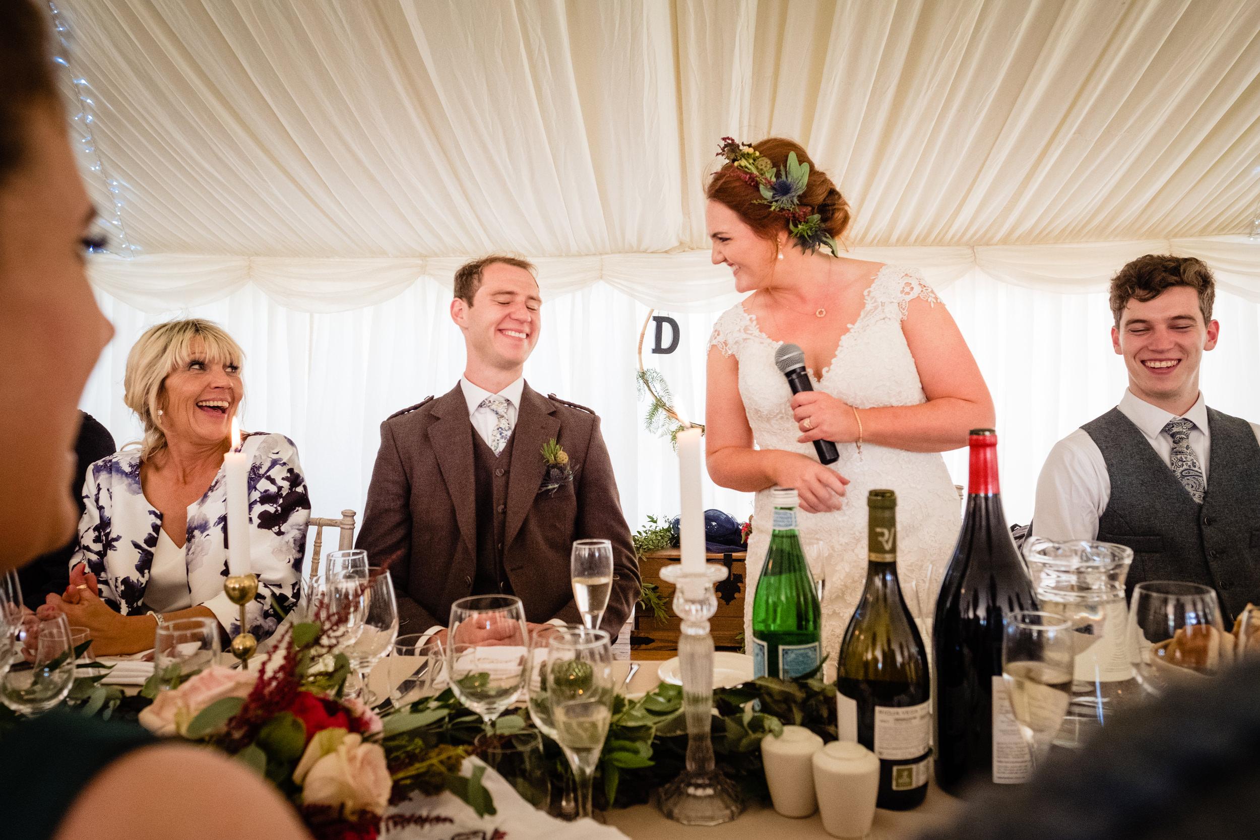 bride giving speech. scottish wedding photography.