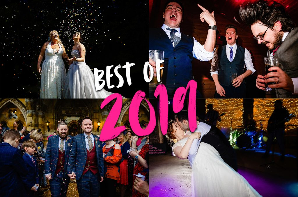 a collage of emma and rich's best of 2019 wedding photography images.